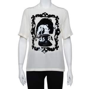 Dolce & Gabbana Cream Silk Silhouette Applique Detail Short Sleeve Top M