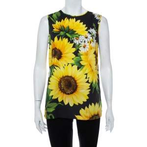 Dolce & Gabbana Black Sunflower Print Cotton Sleeveless Top S