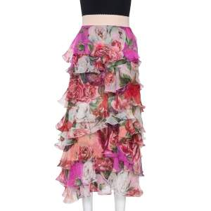 Dolce & Gabbana Pink Floral Print Silk Ruffled Maxi Skirt M