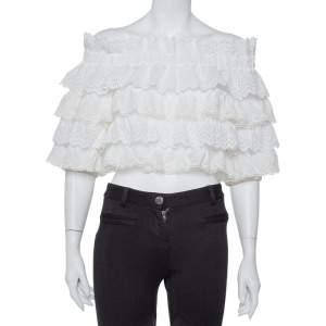 Dolce & Gabbana White Crochet Off Shoulder Crop Top M