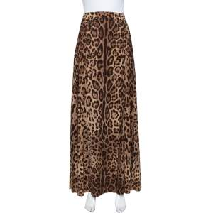 Dolce & Gabbana Brown Animal Printed Wool Thigh High Slit Detail Pleated Maxi Skirt S