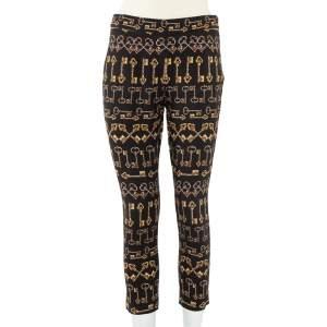 Dolce and Gabbana Black Key Print Crepe Slim Fit Pants M