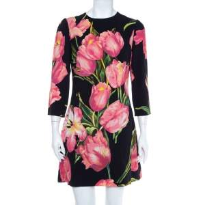 Dolce & Gabbana Black Tulip Print Crepe Shift Dress L