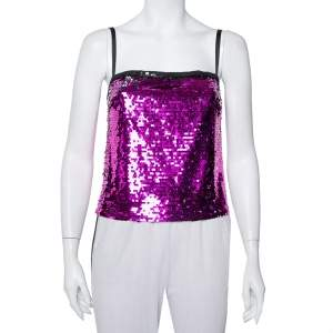 Dolce & Gabbana Fuschia Pink Sequin Paillette Embellished Camisole Top S