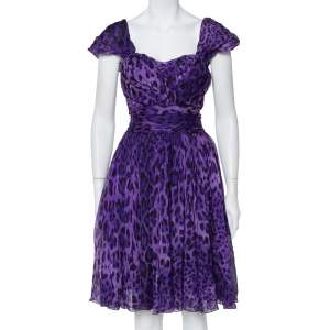 Dolce & Gabbana Purple Leopard Print Silk Sleeveless Short Dress M