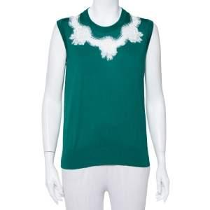 Dolce & Gabbana Green Silk Lace Detail Sleeveless Top L