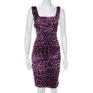 Dolce & Gabbana Purple Animal Printed Satin Ruched Sleeveless Dress S