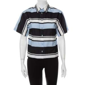 Dolce & Gabbana Blue Striped Cotton Cropped Button Front Shirt M