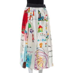 Dolce & Gabbana Multicolor Children's Drawing Printed Silk Mikado Midi Skirt M