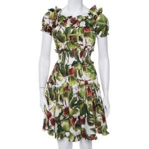 Dolce & Gabbana Multicolor Fig Printed Cotton Smocked Detail Off Shoulder Dress S