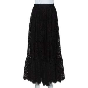 Dolce & Gabbana Black Lace Full Circle Maxi Skirt L
