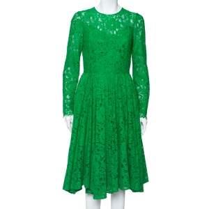 Dolce & Gabbana Green Lace Long Sleeve Midi Dress M