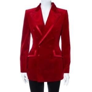 Dolce & Gabbana Red Velvet Double Breasted Blazer S