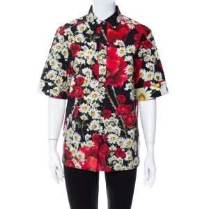 قميص دولتشي أند غابنا نصف أزرار أكمام قصيرة قطن مطبوع زهرة الخشخاش و زهرة الأقحوان أسود مقاس وسط (ميديوم)