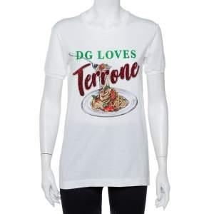 Dolce and Gabbana White Cotton Pasta Graphic Printed Applique Detail Crewneck T-shirt S