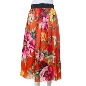 Dolce & Gabbana Orange Floral Printed Silk Midi Skirt M
