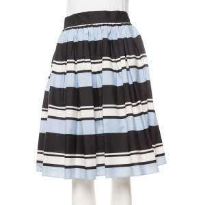 Dolce & Gabbana Blue Striped Cotton Flared Mini Skirt M