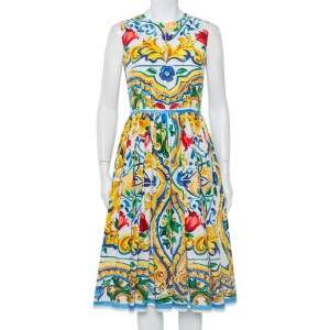 Dolce & Gabbana  Multicolor Maiolica Tile Print Cotton Sleeveless Midi Dress M