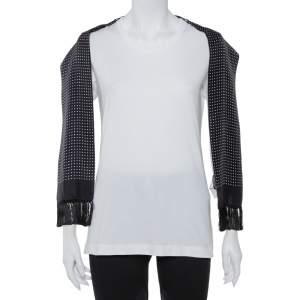 Dolce & Gabbana White Cotton Scarf Detailed T-Shirt M