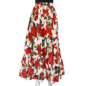 Dolce & Gabbana White Rose Printed Cotton Maxi Skirt M