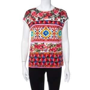 Dolce & Gabbana Multicolor Multiprinted Silk Top S