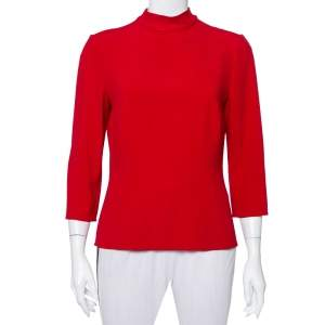 Dolce & Gabbana Red Silk Back Tie Detail High Neck Top L