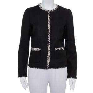 Dolce & Gabbana Black Tweed Contrast Trim Frayed Hem Jacket M