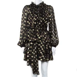 Dolce & Gabbana Black & Gold Lurex Polka Dot Silk Tiered Mini Dress M