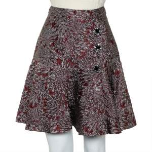 Dolce & Gabbana Burgundy Lurex Jacquard Flared Mini Skirt S