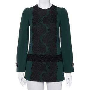 Dolce & Gabbana Green Crepe Lace Detail Long Sleeve Tunic XS