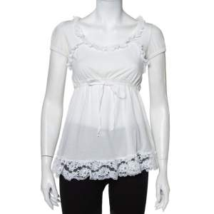 Dolce & Gabbana White Knit Lace Trim Waist Tie Detail Top M