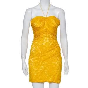 Dolce & Gabbana Yellow Lace Draped Strapless Mini Dress S