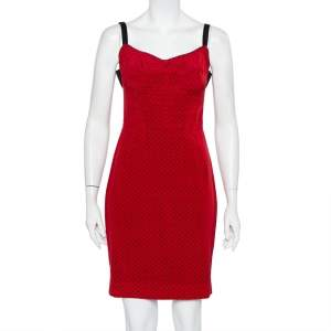 Dolce & Gabbana Red Polka Dot Printed Silk Bustier Mini Dress S