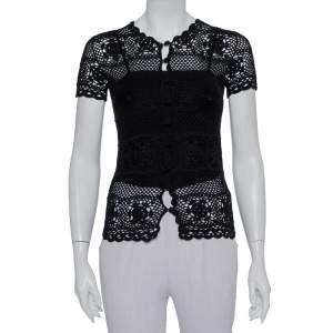 Dolce & Gabbana Black Crochet Button Front Top S