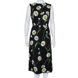 Dolce & Gabbana Black Floral Jacquard Daisy Printed Sleeveless Midi Dress L