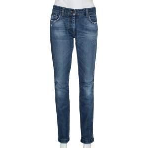 Dolce & Gabbana Navy Blue Faded Denim Distressed Straight Leg Jeans M