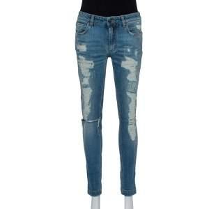 Dolce & Gabbana Blue Faded Denim Distressed Kate Jeans M