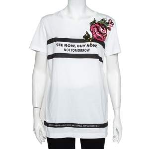 Dolce & Gabbana White Printed Cotton Sequined Rose Applique Detail T-Shirt L