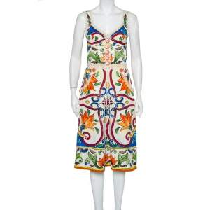 Dolce & Gabbana Multicolor Majolica Printed Jacquard Sleeveless Midi Dress M