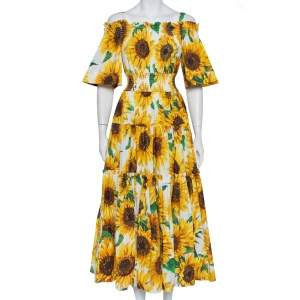 Dolce & Gabbana Yellow Sunflower Printed Cotton Cold Shoulder Tiered Midi Dress M