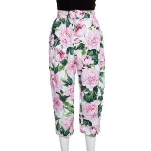 Dolce & Gabbana Pink Floral Printed Cotton High Waist Capri Pants XS