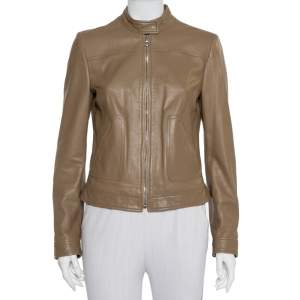 Dolce & Gabbana Camel Brown Leather Zip Front Jacket M
