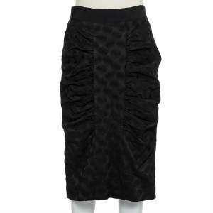 Dolce & Gabbana Black Jacquard Draped Detail Pencil Skirt L