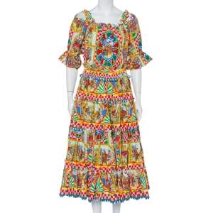 Dolce & Gabbana Multicolor Carreto Silicano Printed Cotton Tiered Midi Dress L