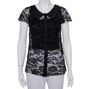 Dolce & Gabbana Black Lace Button Front Top S