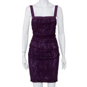 Dolce & Gabbana Purple Lace Sleeveless Ruched Mini Dress M