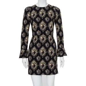 Dolce & Gabbana Black Sacred Heart Printed Crepe Mini Dress S