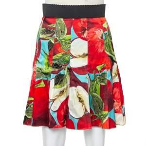Dolce & Gabbana Red Printed Silk Paneled Mini Skirt S