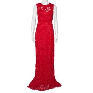 Dolce & Gabbana Red Lace Open Back Sleeveless Maxi Dress M