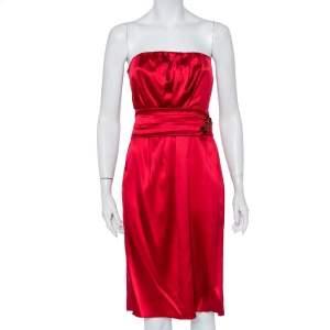 Dolce & Gabbana Red Satin Silk Embellished Draped Strapless Dress M